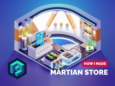 Martian Store Tutorial room sci-fi hard surface tutorial low poly diorama lowpoly isometric render blender illustration 3d