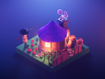 Farmer House at Night game art lowpolyart diorama lowpoly isometric render blender illustration 3d