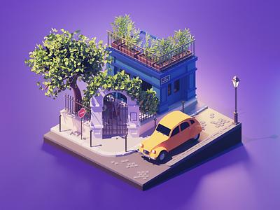 Paris 2cv citroen montmartre paris city lowpolyart low poly diorama lowpoly isometric render blender illustration 3d