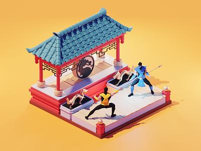 Mortal Kombat game art mortal kombat lowpolyart low poly diorama lowpoly isometric render blender illustration 3d