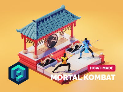 Mortal Kombat Tutorial mortal kombat tutorial lowpolyart low poly diorama lowpoly isometric render blender illustration 3d