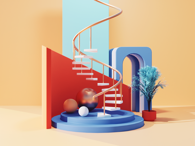 Spiral Stairs Tutorial abstract design abstract composition abstract art spiral stairs abstract diorama blender illustration 3d