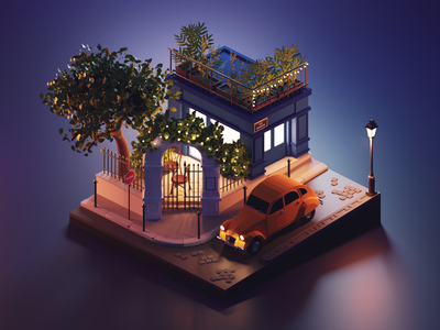 Paris at Night city night paris lowpolyart low poly lowpoly diorama isometric render blender illustration 3d