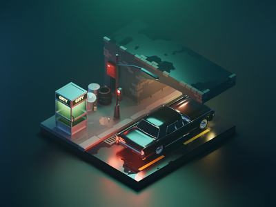 Matrix Lincoln Continetal lincoln car matrix lowpolyart low poly lowpoly diorama isometric render blender illustration 3d