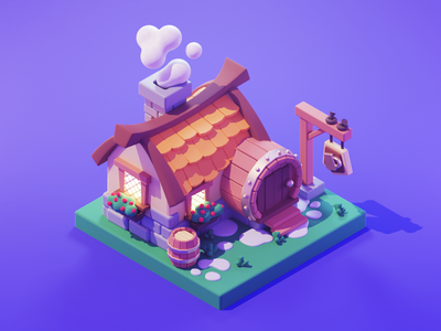 Tavern medieval tavern settlers strategy game game art low poly lowpolyart lowpoly diorama isometric render blender illustration 3d