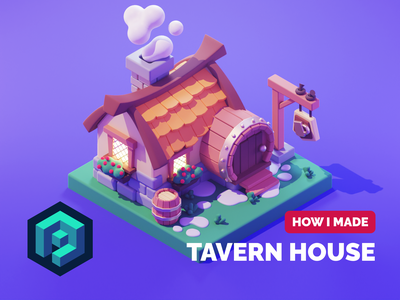Tavern Tutorial medieval tavern game art tutorial lowpolyart low poly lowpoly diorama isometric render blender illustration 3d