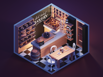 Evening at Bakery room shop bakery lowpolyart low poly lowpoly diorama isometric render blender illustration 3d