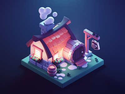 Tavern at Night medieval tavern settlers game art lowpolyart low poly lowpoly diorama isometric render blender illustration 3d