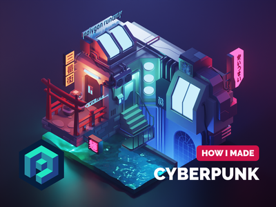 Cyberpunk Diorama Tutorial tutorial cyberpunk lowpolyart lowpoly diorama isometric render blender illustration 3d