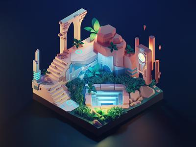 Cyber Ruins alien cyberpunk scifi ruins lowpoly diorama isometric render blender illustration 3d
