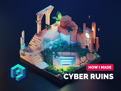 Cyber Ruins Tutorial scifi architecture ruins tutorial lowpoly diorama isometric render blender illustration 3d