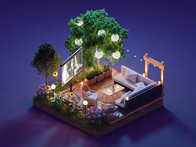 Garden Lounge summer outdoor lounge garden diorama isometric render blender illustration 3d