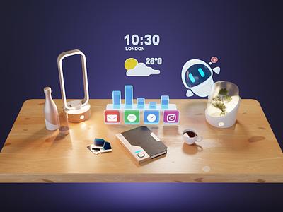 Virtual AR Desktop ar ui ar desktop augmented reality ar 3d ui render blender illustration 3d