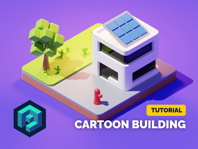 Cartoon Building Tutorial city building cartoon stylized lowpoly diorama isometric render blender illustration 3d
