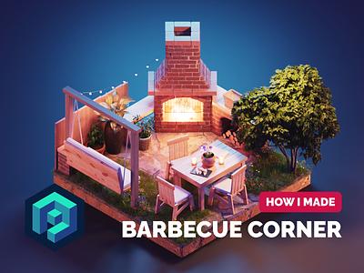 Barbecue Corner Tutorial garden summer tutorial lowpoly diorama isometric render blender illustration 3d