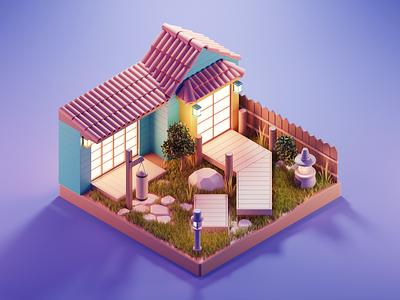 Myiagi Dojo cobra kai myiagi japanese dojo karate kid garden lowpoly diorama isometric render blender illustration 3d