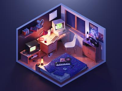 Retro Night games pc retro room lowpoly diorama isometric render blender 3d illustration
