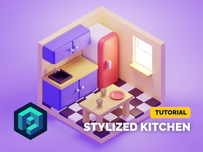 Stylized Kitchen Tutorial cute stylized kitchen room lowpoly diorama isometric render blender illustration 3d
