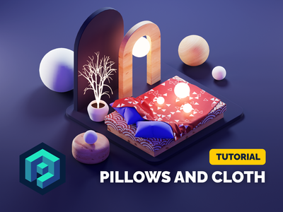 Pillows and Cloth Tutorial cloth bedroom room composition abstract isometric render blender illustration 3d