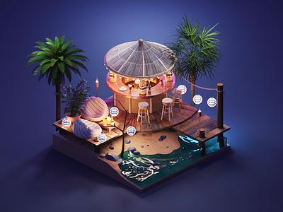 Beach Bar seaside beach summer diorama isometric render blender illustration 3d