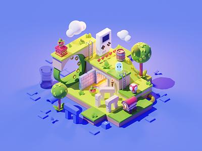 Game World game gaming nintendo games lowpoly diorama isometric render blender illustration 3d