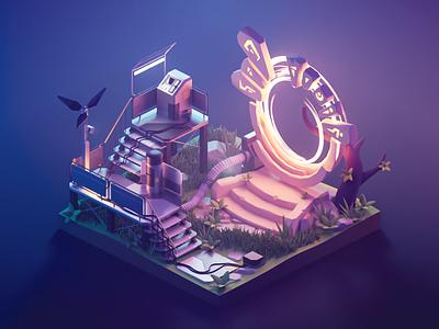 Ancient Portal portal fantasy scifi lowpoly diorama isometric render blender illustration 3d