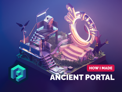 Ancient Portal Tutorial environment portal fantasy scifi tutorial lowpoly diorama isometric render blender illustration 3d
