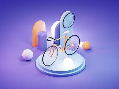 Bicycle Tutorial tutorial bike bicycle lowpoly diorama isometric render blender illustration 3d