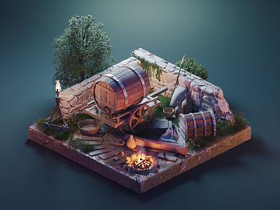 Diablo Camp game environment diablo lowpoly diorama isometric render blender illustration 3d