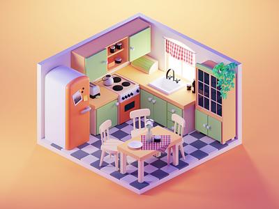 Kitchen Illustration kitchen room lowpoly diorama isometric render blender illustration 3d