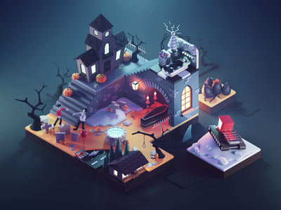 Horror Movies monsters horrors horror movies halloween spooky diorama isometric render blender illustration 3d