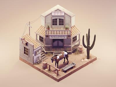 Wild West wild west western lowpoly diorama isometric render blender illustration 3d
