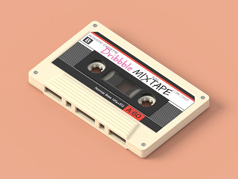 Mixtape 80s blender analog mixtape tape realistic hard surface model illustration 3d