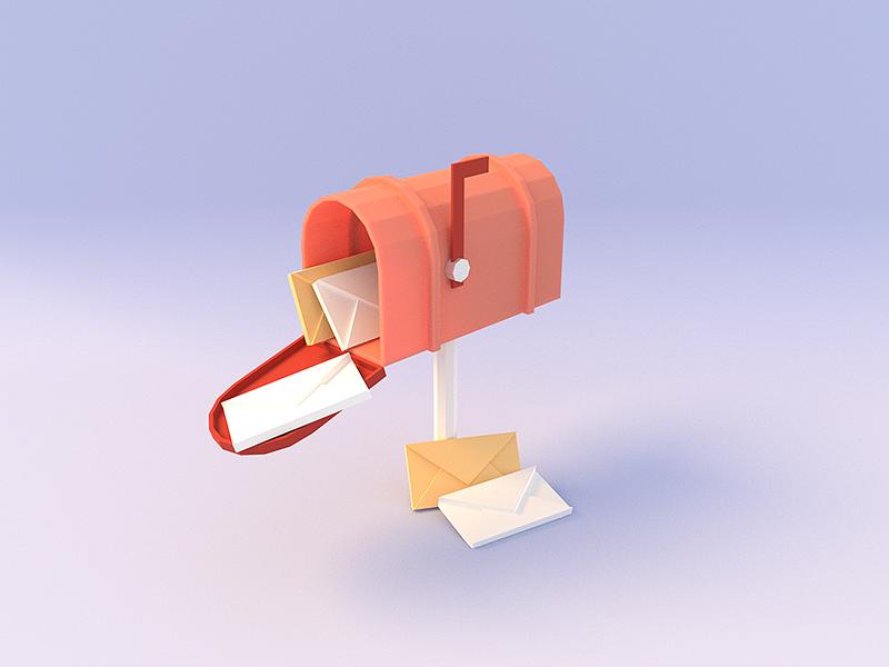 Mail Illustration blender mailbox mail lowpoly design ui icon illustration 3d