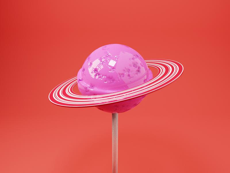 Candy Planet 🍭 saturn sweets space planet candy render design blender illustration 3d