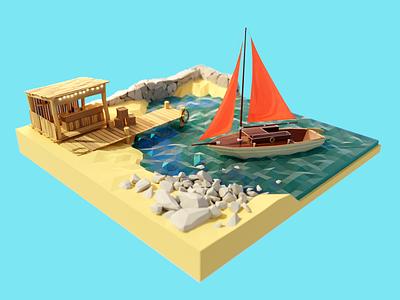 Marina Bay ⚓️ seaside pier bar coast ship boat sailboat sea bay lowpoly render design blender illustration 3d