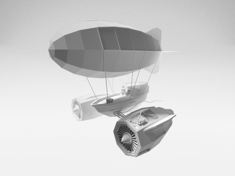 Fantasy Airship ship rocket mist surreal fantasy engines jet blimp airship lowpoly render design blender illustration 3d