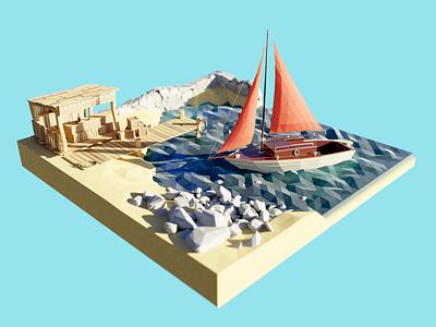 Marina HDRI coast bar sailboat boat pier marina seaside sea lowpoly render design blender illustration 3d