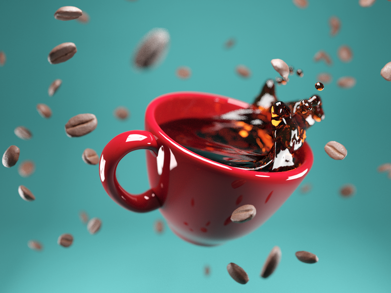 Fuel ☕️ splash liquid falling beans cup coffee pbr render design blender illustration 3d