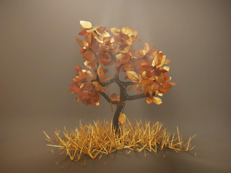 Golden Tree glass light grass leaves gold tree autumn mood pbr render design blender illustration 3d