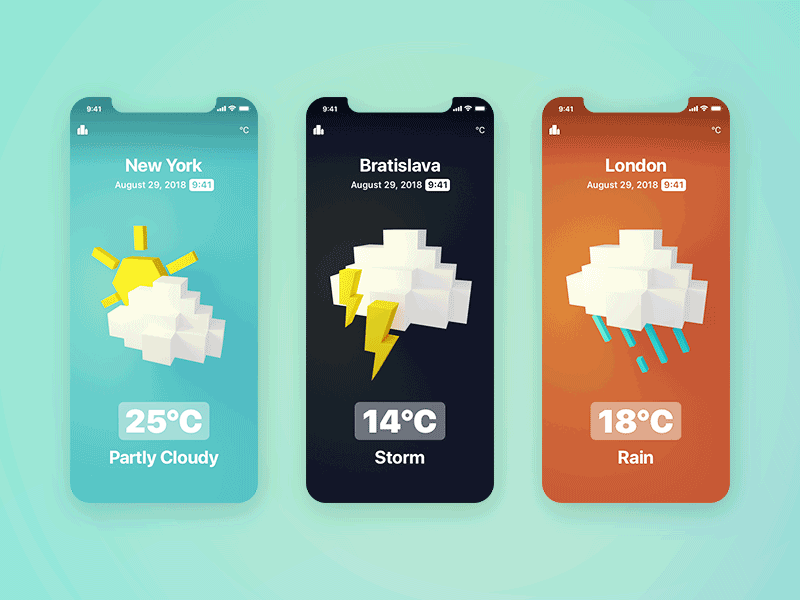 Animated Weather UI by Roman Klčo on Dribbble