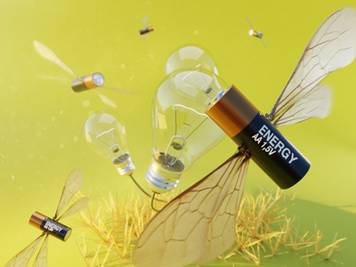 Busy Bees 🐝 hdri surreal abstract light lighbulb battery lightbulbs plants bees pbr render design blender 3d illustration