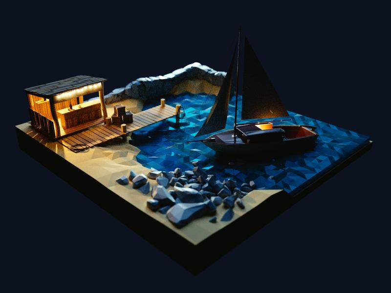 Moonlit Night 🌔 scene moonlight night coast bar sailboat boat marina bay lowpoly render design 3d blender illustration
