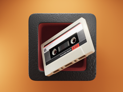 Player Icon 🎵 cassette walkman mixtape tape music app launcher ui icon render design blender illustration 3d