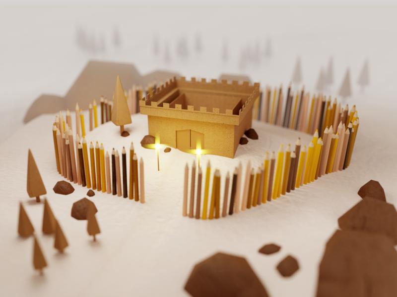 Fortress 🏰 wall castle fortress model paper cardboard crayons pencils surreal scene render design blender 3d illustration