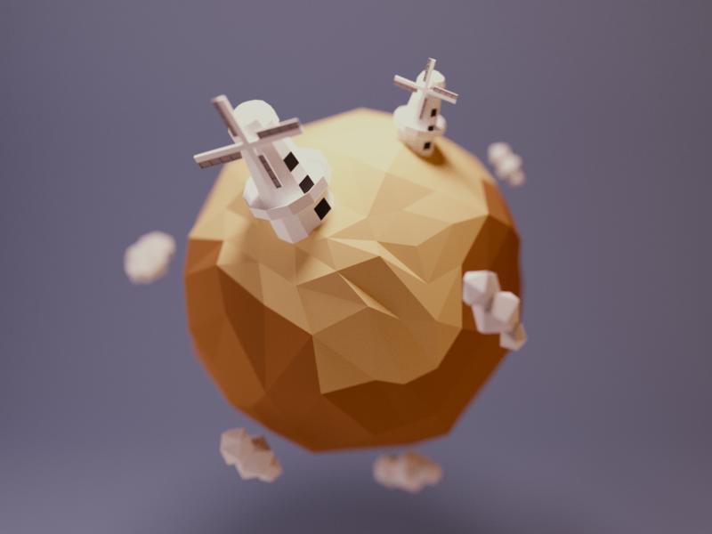 Planet Quijote nanoplanet little planet planet windmills building model space lowpoly render design blender 3d illustration