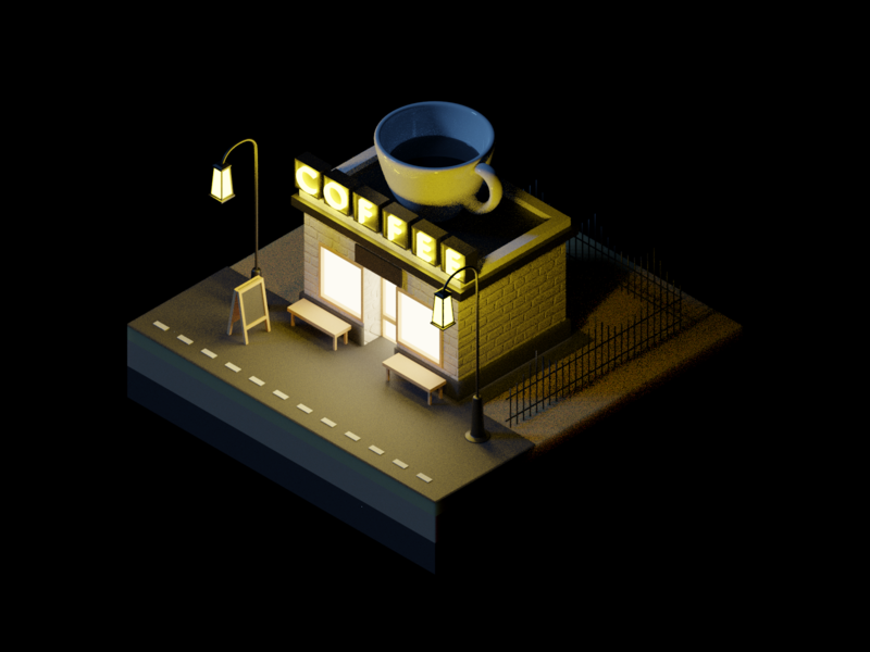 Coffeeshop at Night moonlight night cafe coffeeshop cafeteria coffee isometric city building model lowpoly render design blender 3d illustration