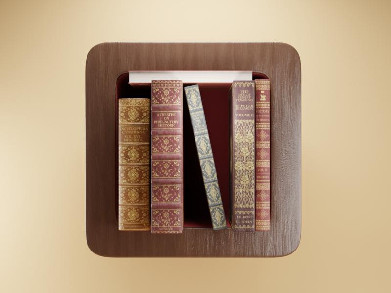 Bookshelf Icon appicon bookshelf books launcher app ui icon render design blender 3d illustration