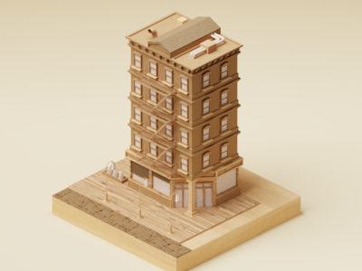 Wood and Cardboard Building