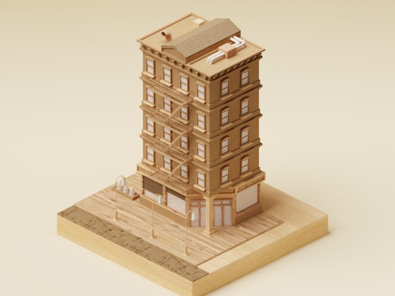 Wood and Cardboard Building by Roman Klčo on Dribbble